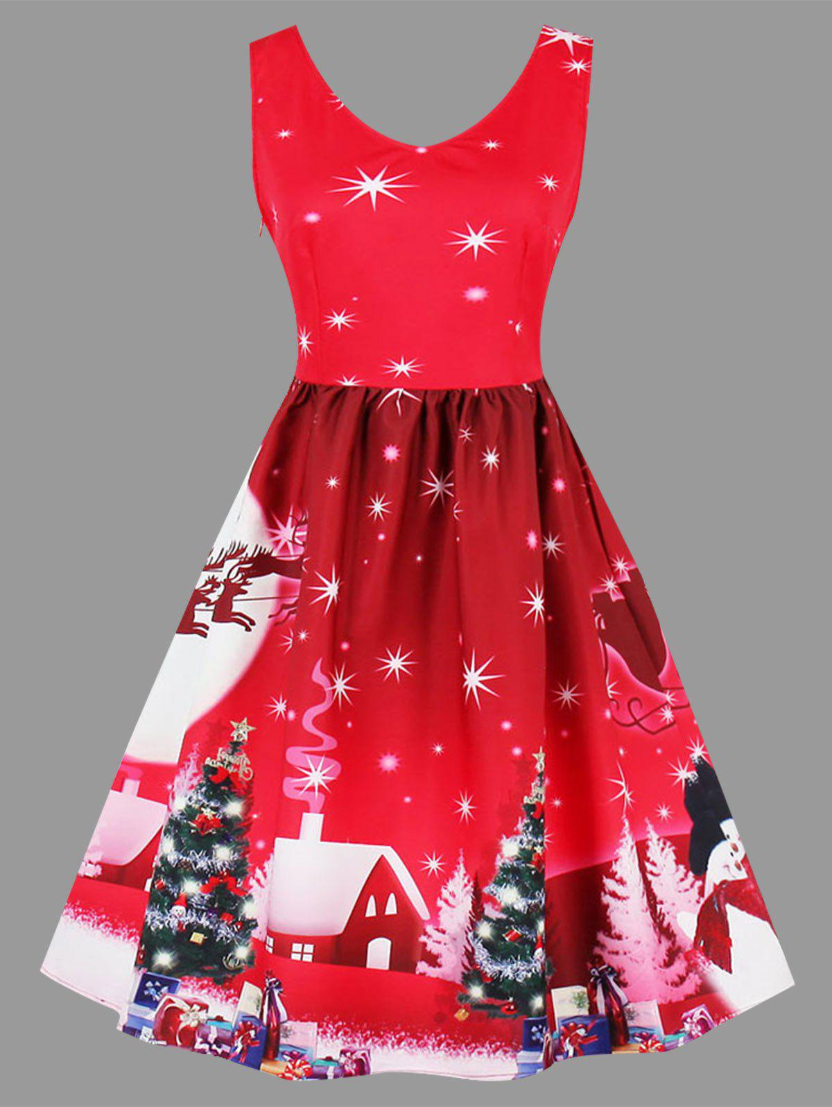 Plus Size Christmas Tree Moon Snowman Dress - RED 2XL