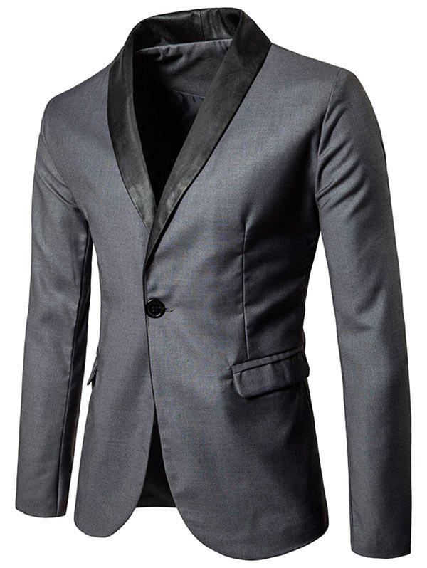Flap Pocket One Button Shawl Collar Tuxedo - GRAY M