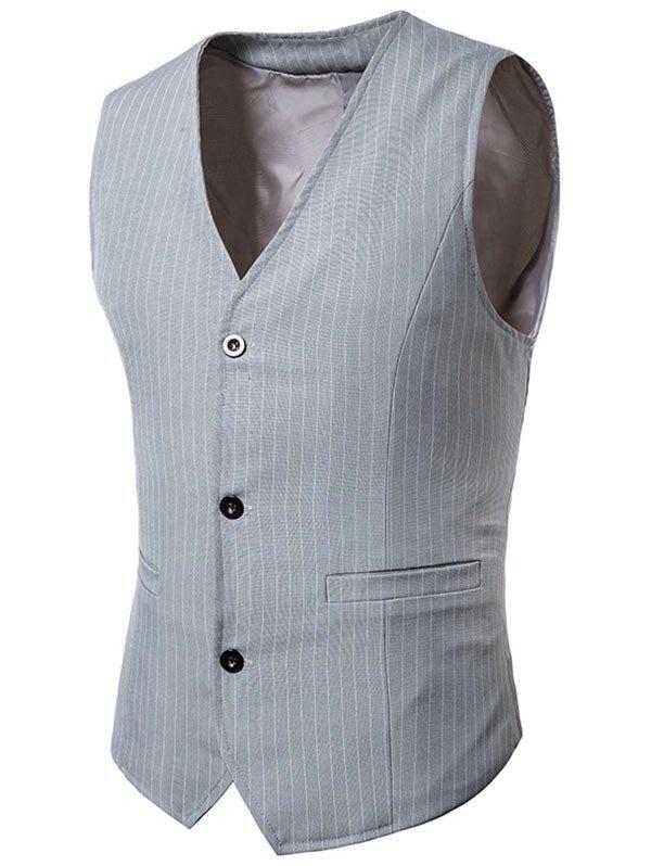 Single Breasted V Neck Vertical Stripes Waistcoat - GRAY 2XL