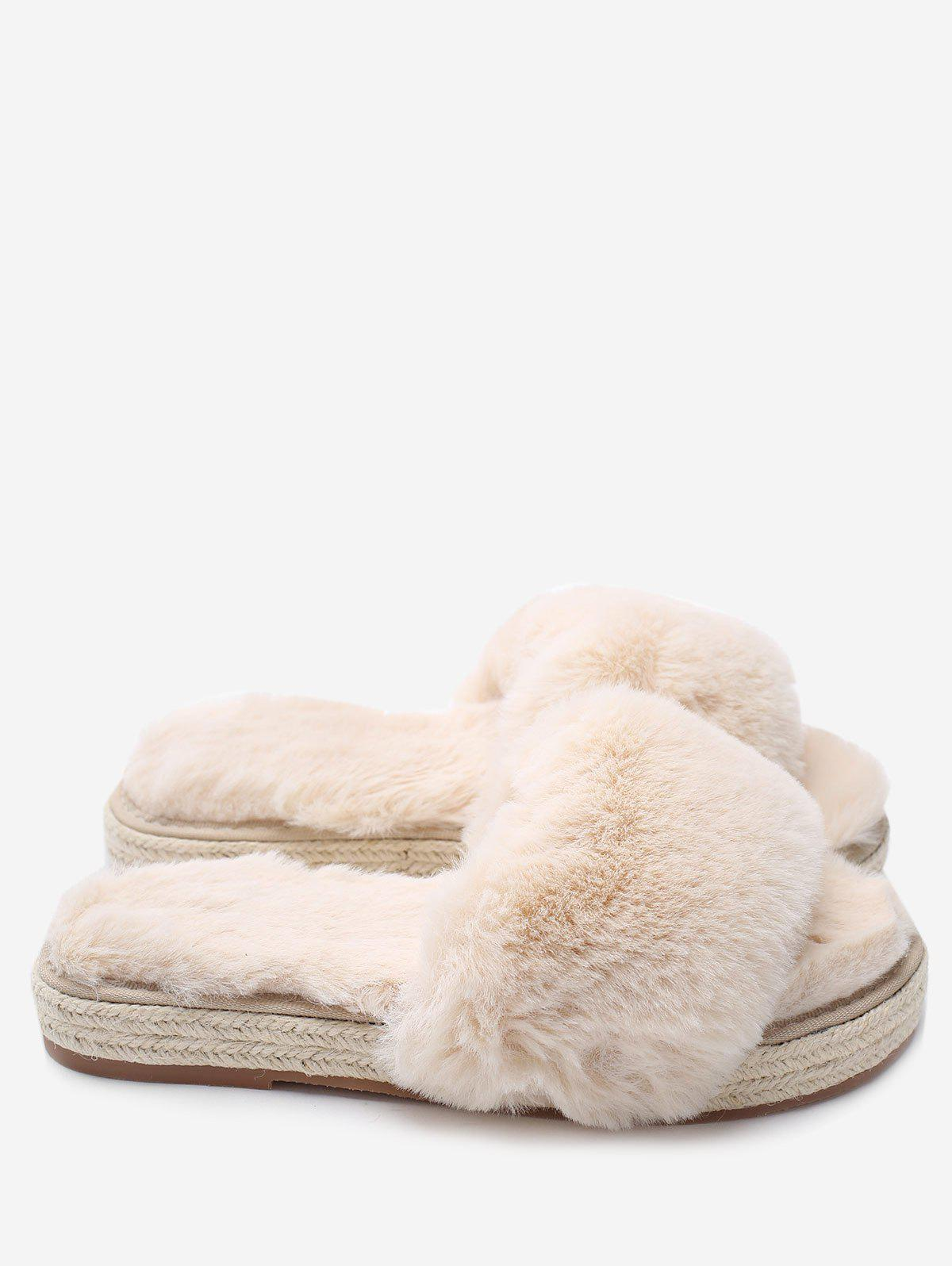 Espadrille Sole Faux Fur Slippers - APRICOT 35