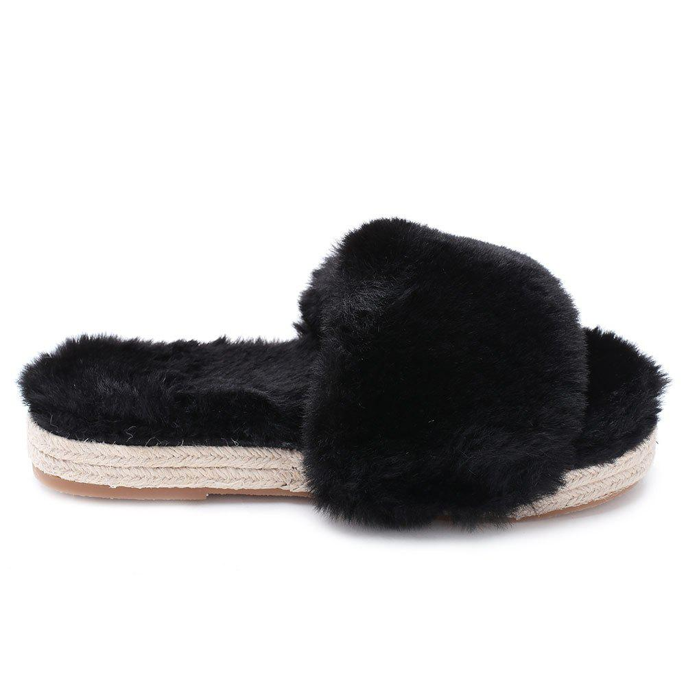 Espadrille Sole Faux Fur Slippers - BLACK 38