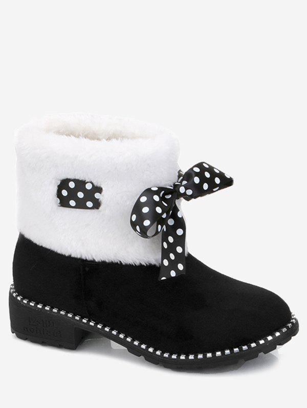 Fake Fur Ankle Boots with Bow Accent - BLACK 39