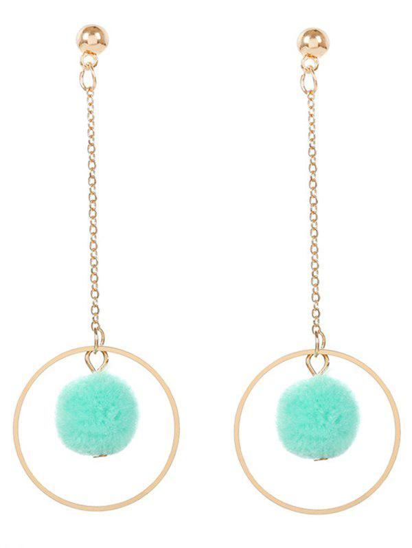 Metal Fuzzy Ball Circle Chain Drop Earrings - GREEN