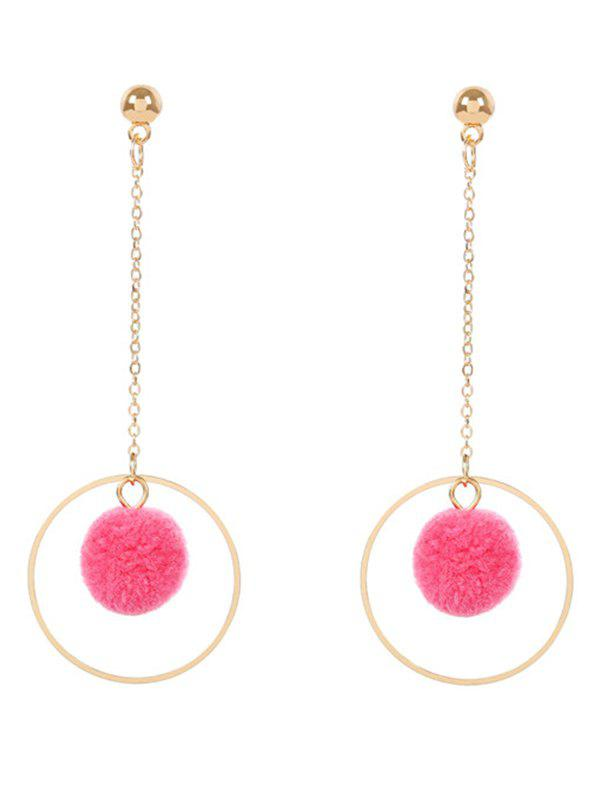 Metal Fuzzy Ball Circle Chain Drop Earrings - ROSE RED