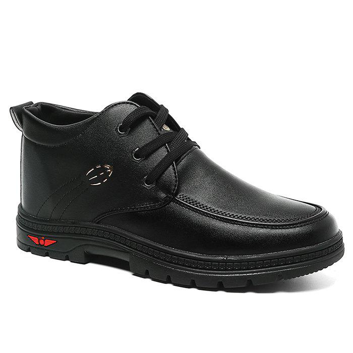 Lace Up Artificial Leather Casual Shoes - BLACK 39
