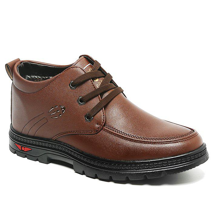 Lace Up Artificial Leather Casual Shoes - BROWN 44