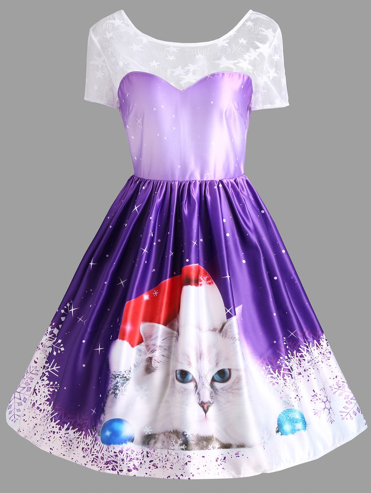 Christmas Cat Print Lace Panel Vintage Dress - PURPLE L