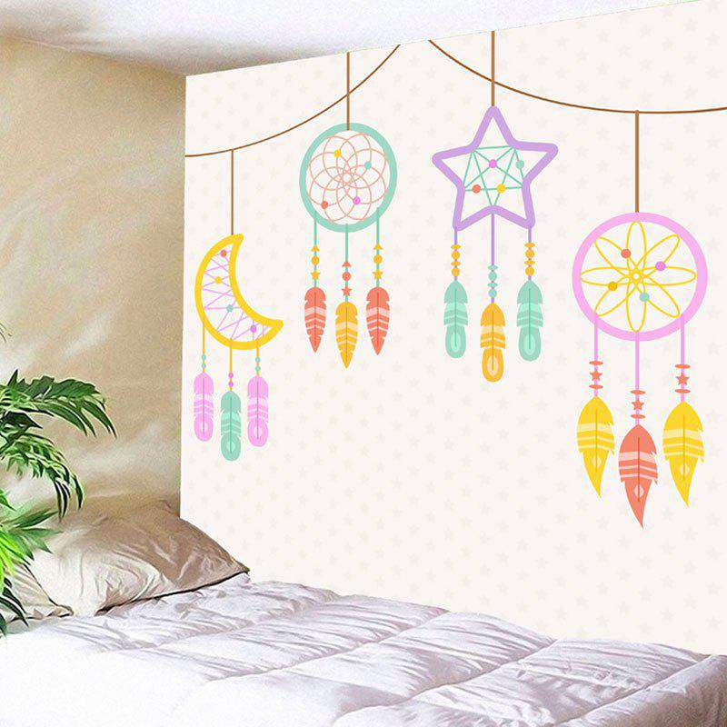 Wall Art Star Moon Dreamcatcher Print Tapestry - OFF WHITE W91 INCH * L71 INCH