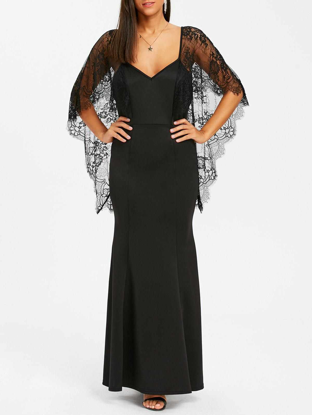 Open Back Lace Batwing Maxi Dress - BLACK L