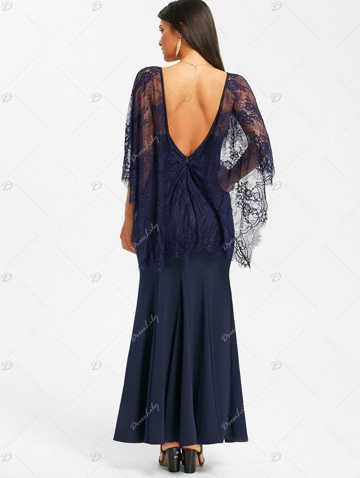 Open Back Lace Batwing Maxi Dress - NAVY BLUE L