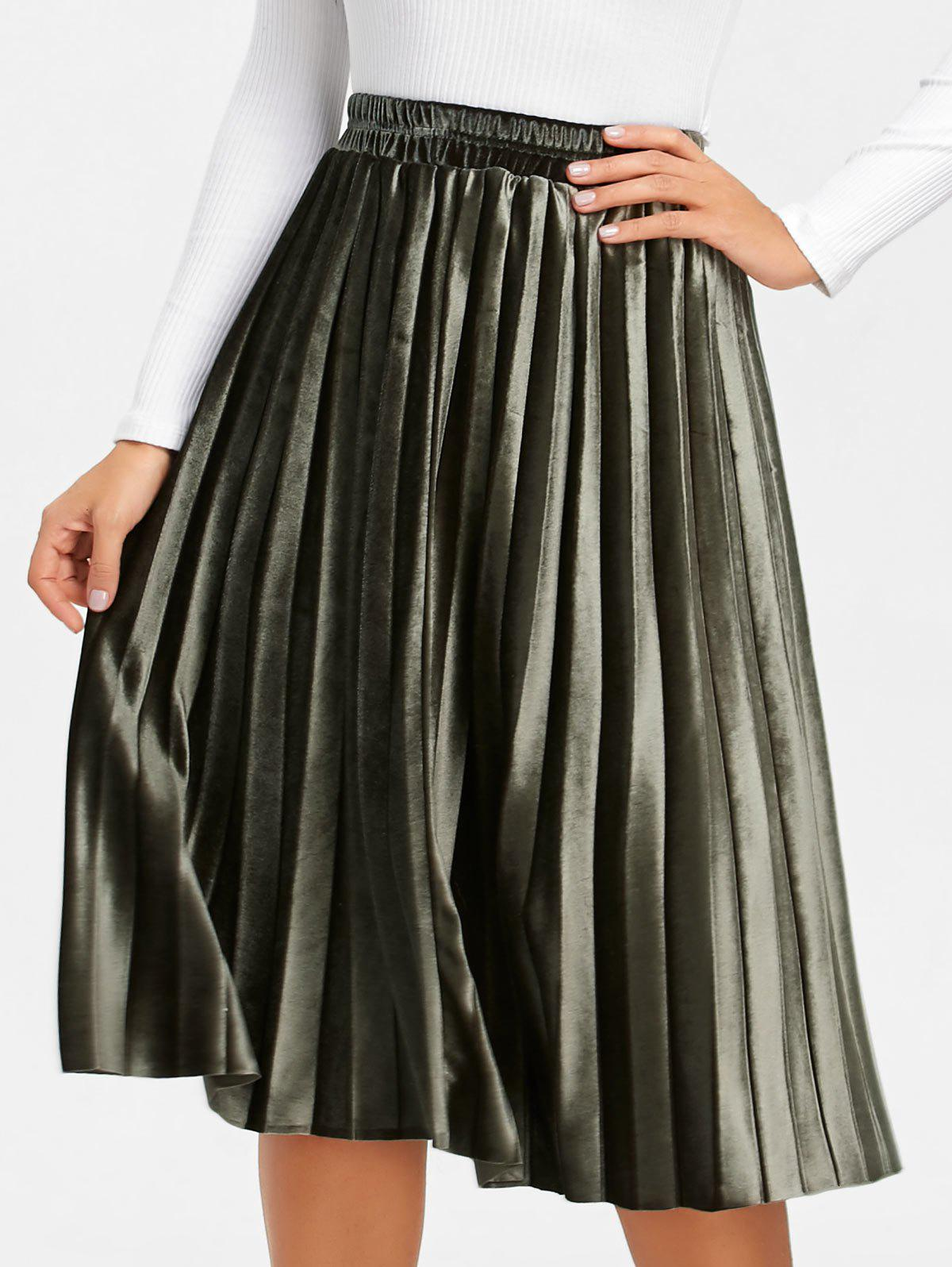 Midi High Waisted Velvet Pleated Skirt - ARMY GREEN S