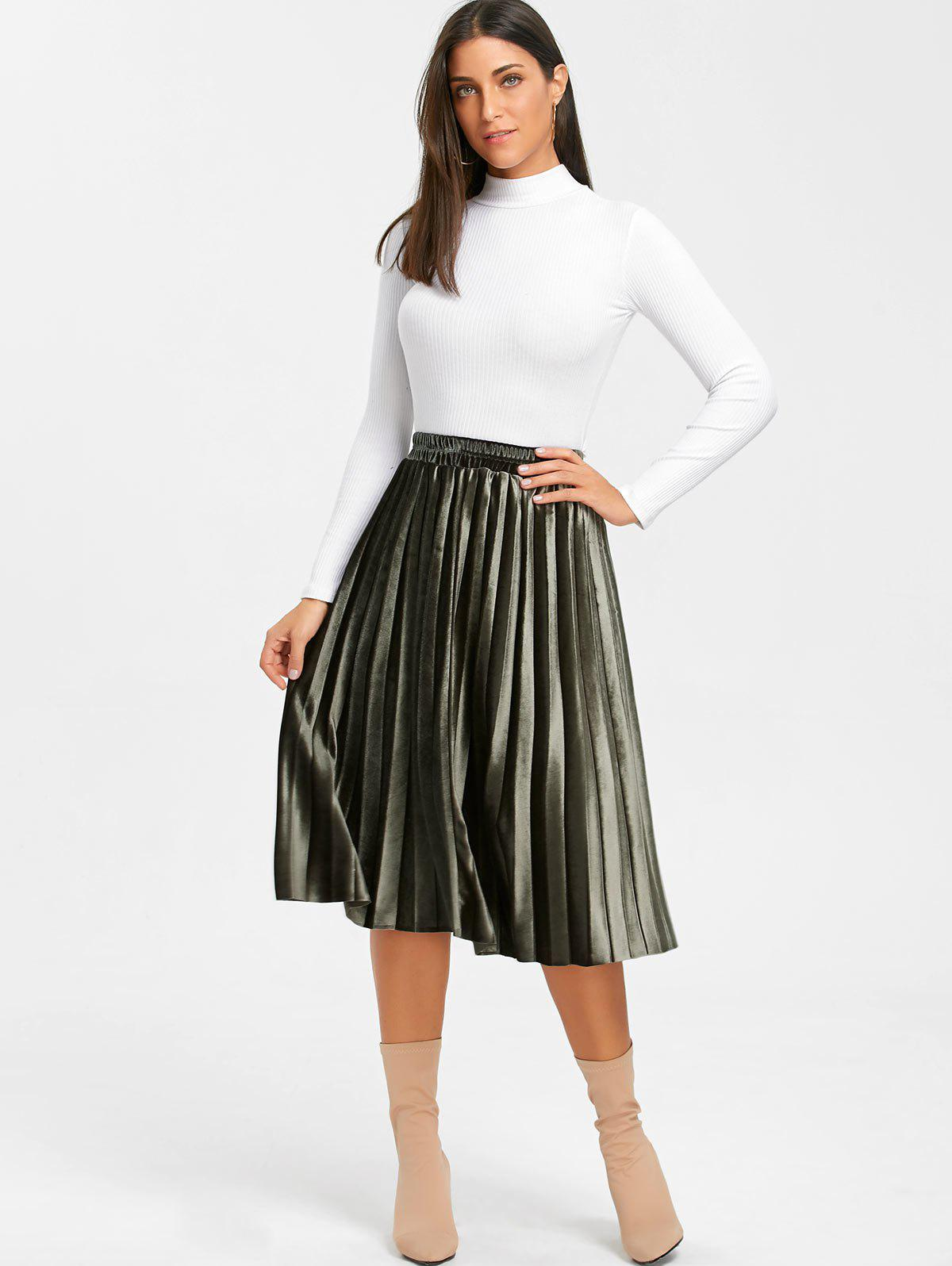 Midi High Waisted Velvet Pleated Skirt - ARMY GREEN L