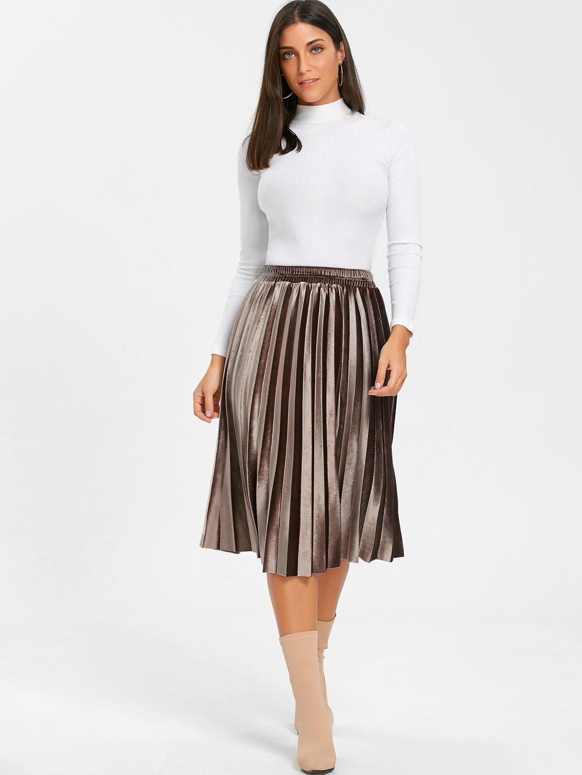 Midi High Waisted Velvet Pleated Skirt - BROWN XL
