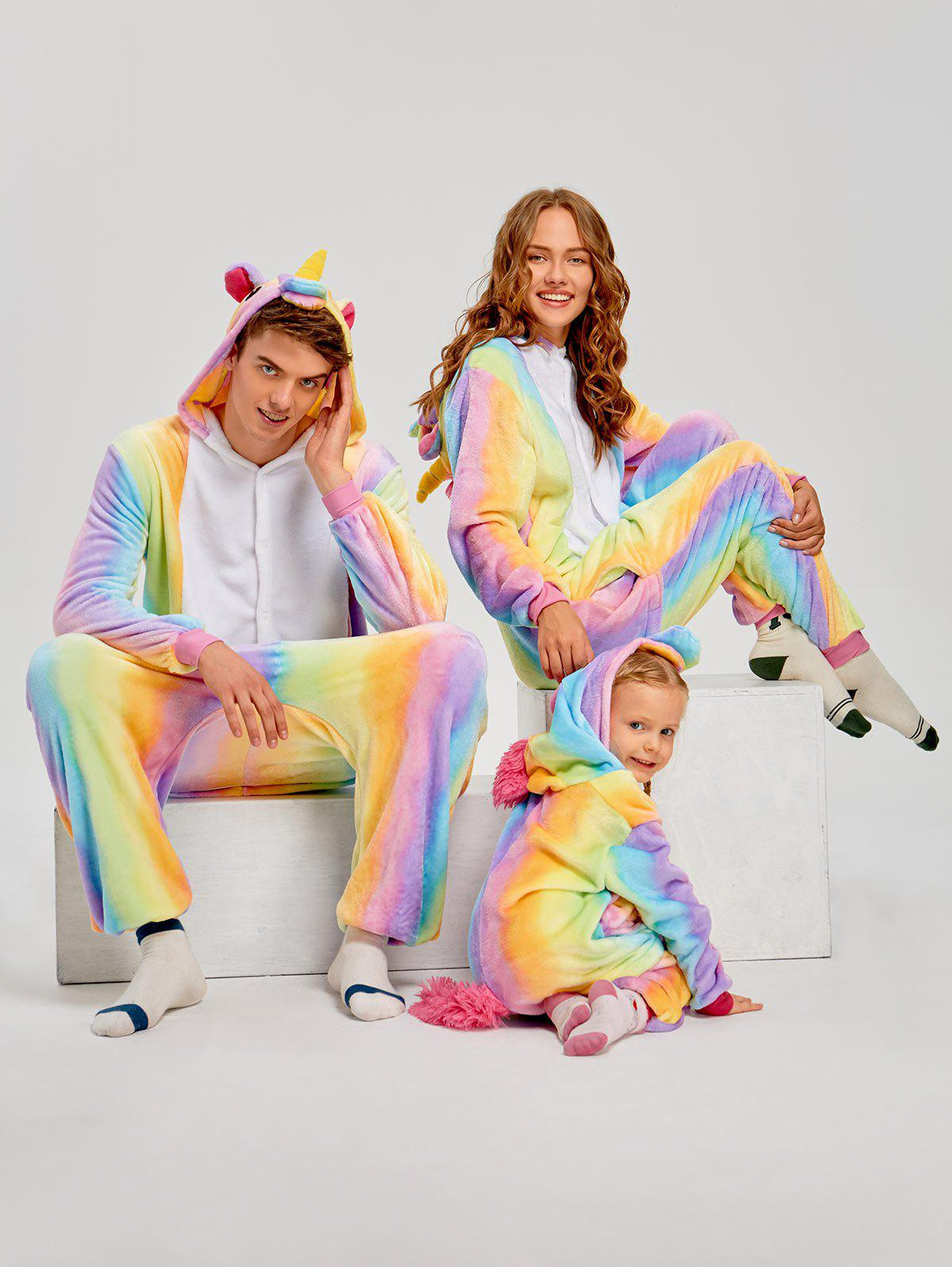 Christmas Rainbow Unicorn Animal Family Onesie Pajamas - CREAM KID 110