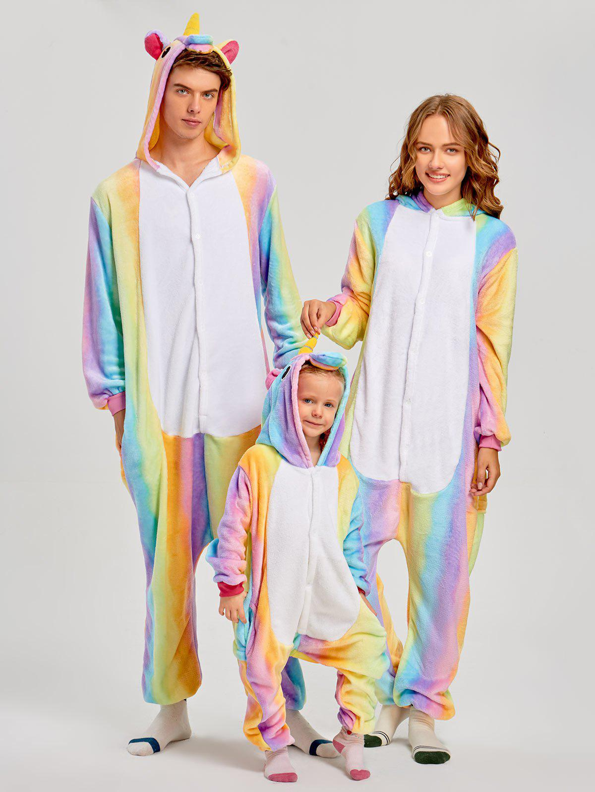 Christmas Rainbow Unicorn Animal Family Onesie Pajamas - CREAM KID 120