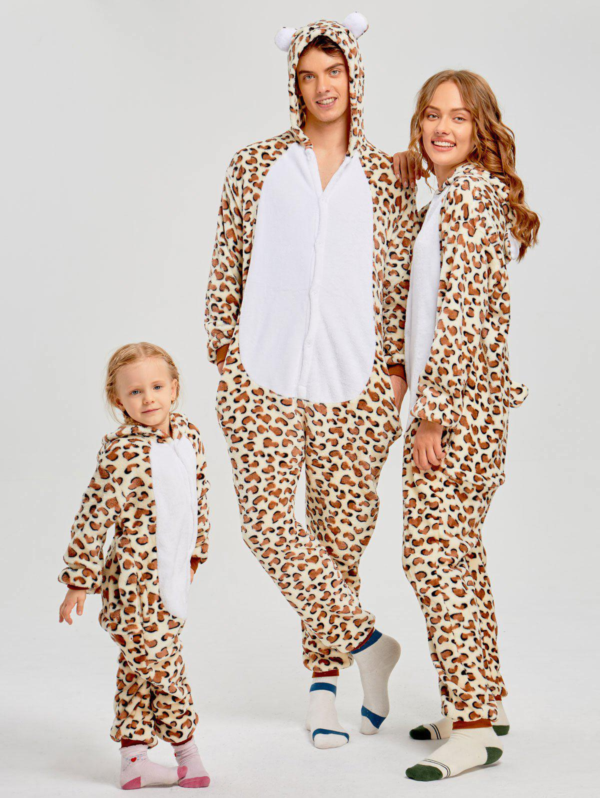 Family Leopard Printed Bear Animal  Onesie Pajamas  - LEOPARD PRINT PATTERN MOM S