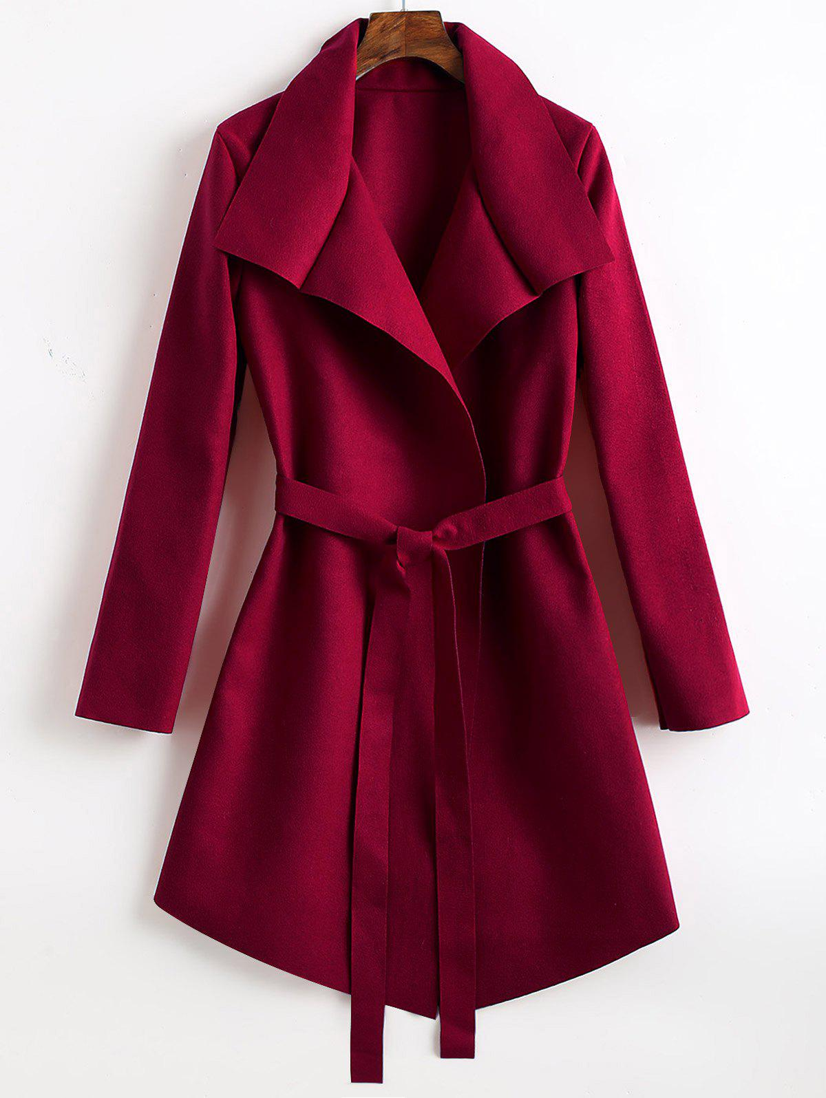 Belted Wool Blend Asymmetrical Coat - WINE RED S