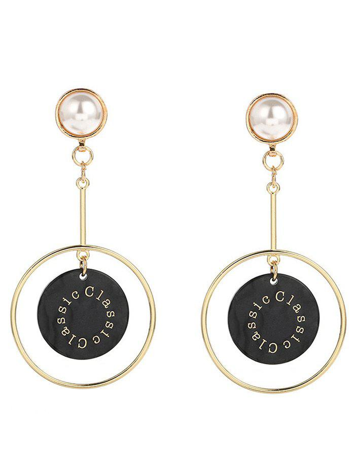 Faux Pearl Circle Disc Drop Earrings - BLACK