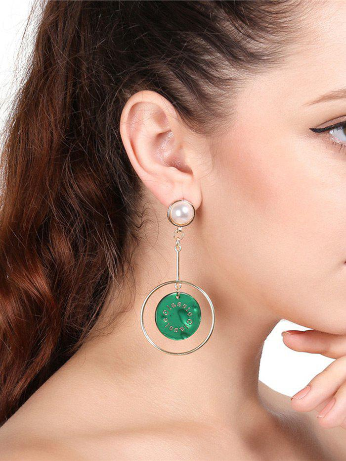 Faux Pearl Circle Disc Drop Earrings - GREEN