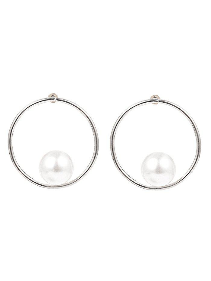 Statement Faux Pearl Alloy Circle Earrings - SILVER