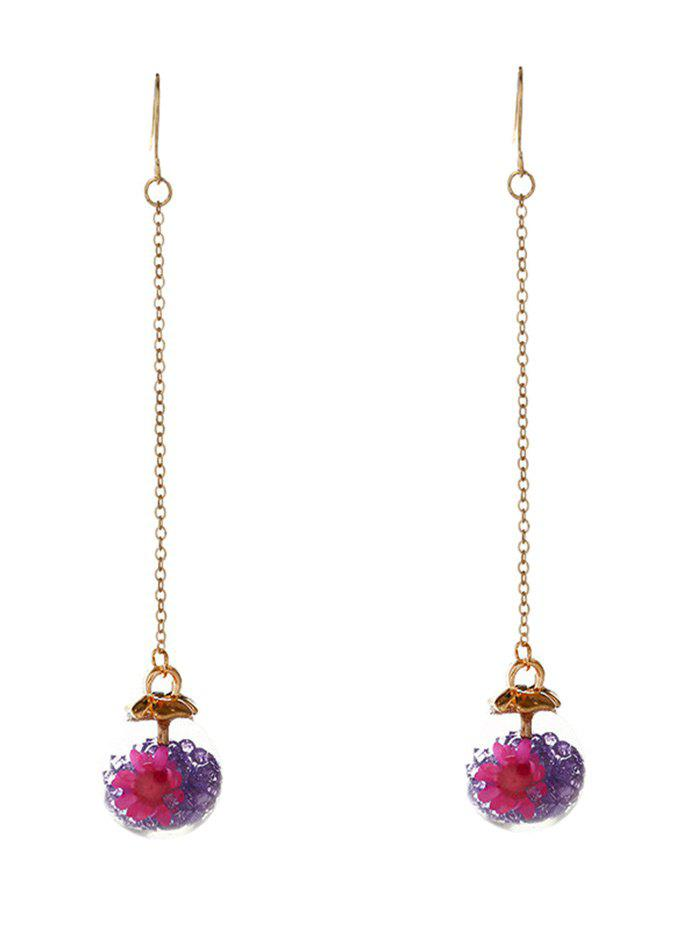 Unique Glass Flower Chain Hook Earrings - PURPLE