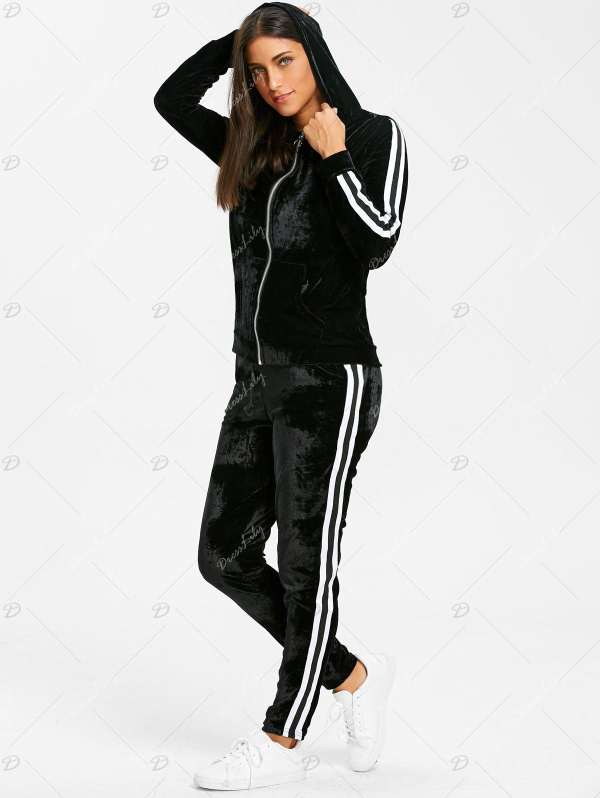 Velvet Striped Hooded Jacket with Drawstring Pants - BLACK S