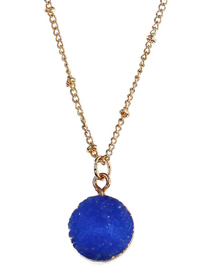 Natural Stone Round Pendant Necklace - ROYAL