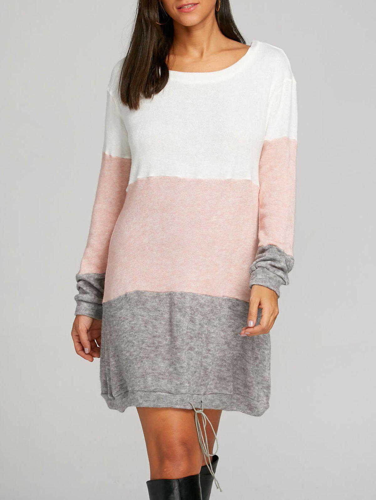 Color Block Striped Sweater Dress - PINK S