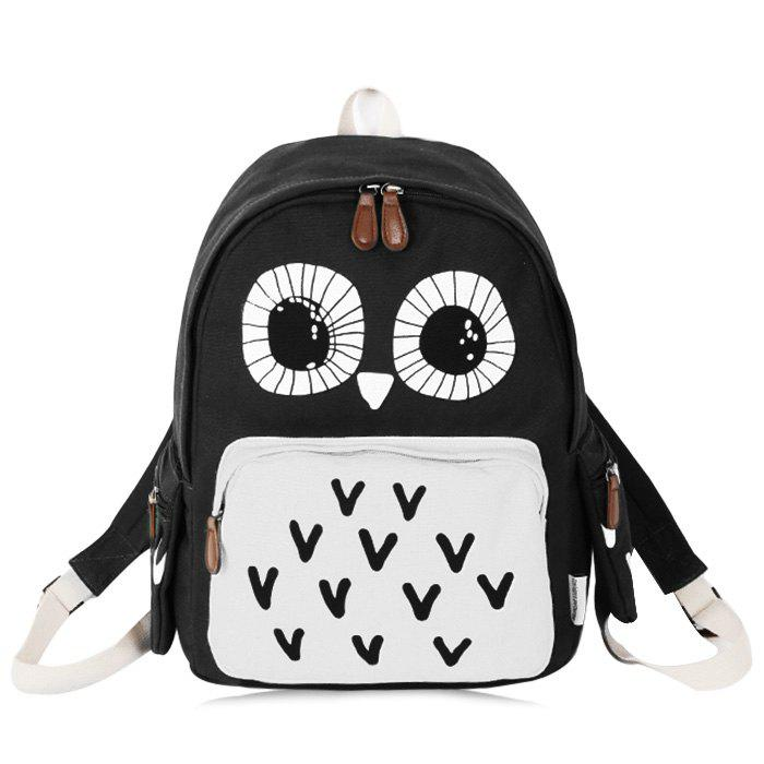 Color Block Owl Print Backpack - BLACK