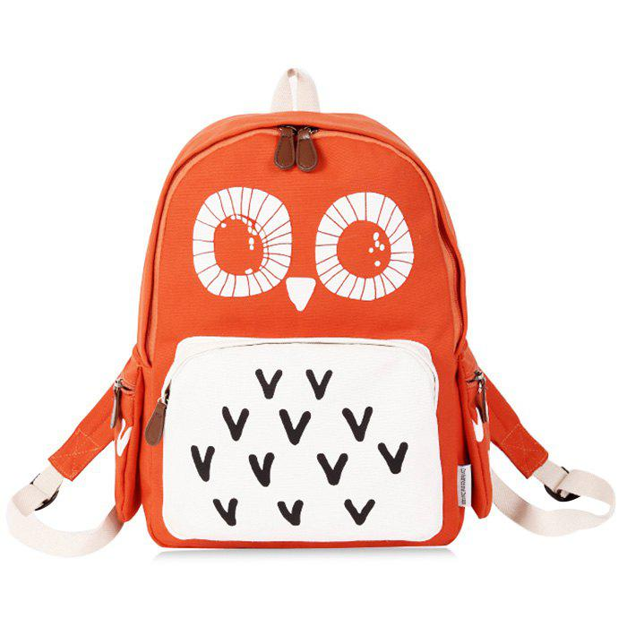 Color Block Owl Print Backpack - ORANGE