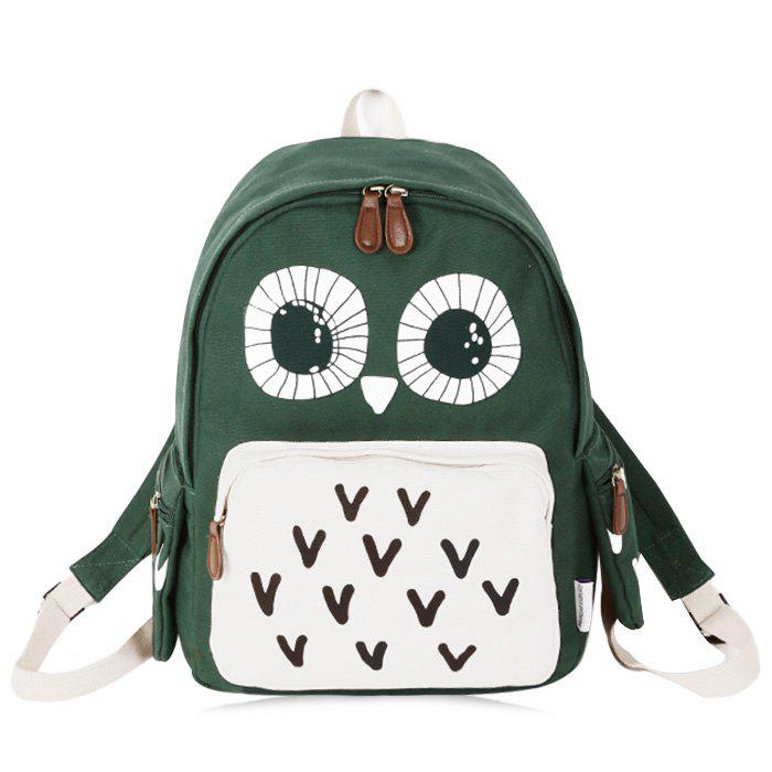 Color Block Owl Print Backpack - GREEN