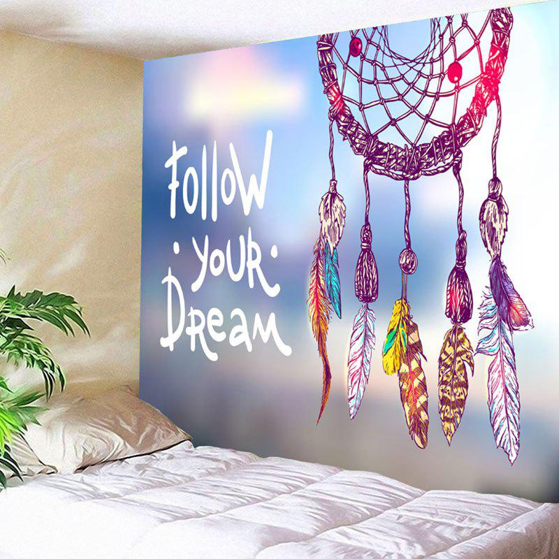 Dreamcatcher Letter Print Wall Decor Tapestry chic fluorescent circular net with feathers dreamcatcher wall hanging decor