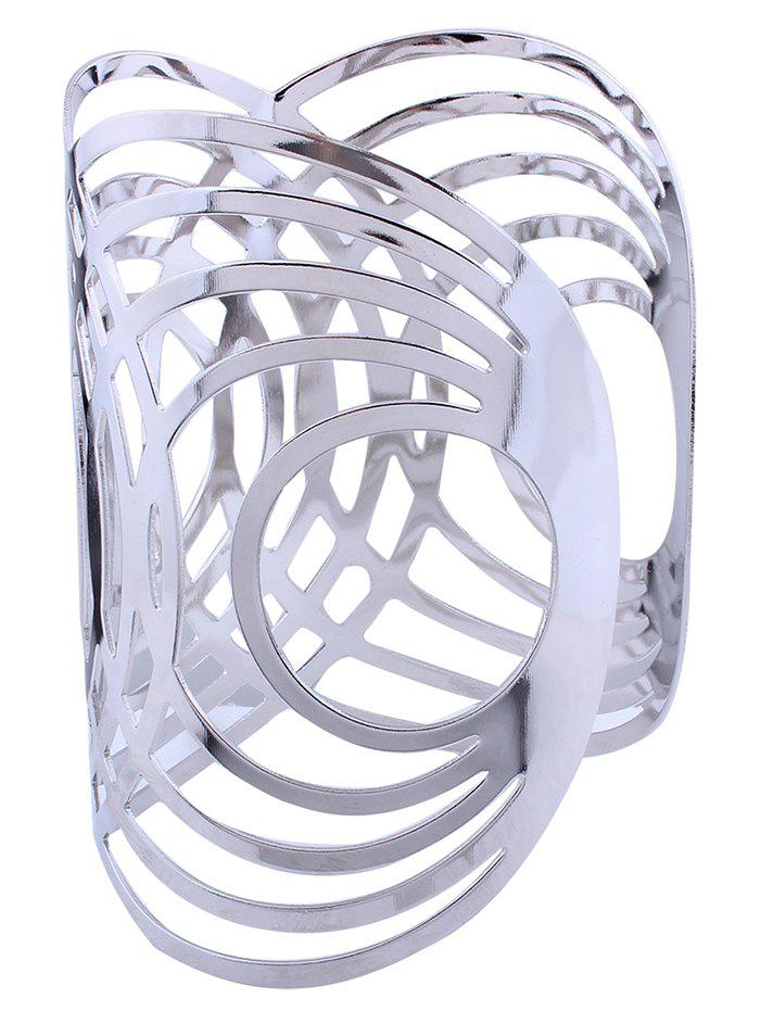 Hollow Out Round Pattern Alloy Cuff Bracelets - SILVER