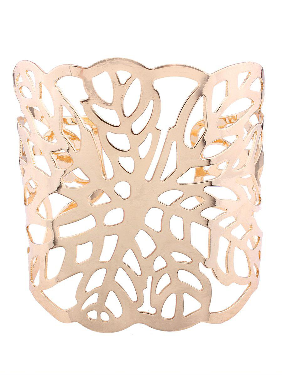 Leaf Pattern Hollow Out Cuff Bracelets - GOLDEN