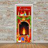 Merry Christmas Fireplace Pattern Door Stickers - COLORFUL 38.5*200CM*2PCS