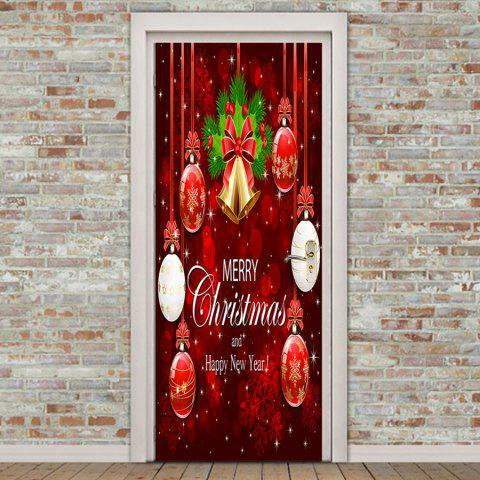 Environmental Removable Christmas Bell and Ball Printed Door Stickers - COLORFUL 38.5*200CM*2PCS