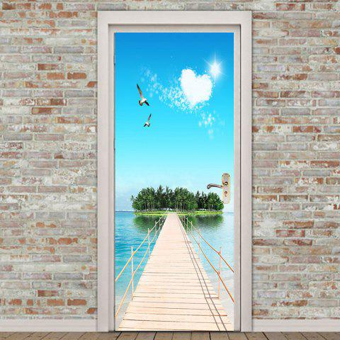 Island Scenery Printed Environmental Removable Door Stickers - COLORFUL 38.5*200CM*2PCS