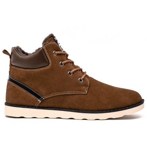Faux Suede Lace-Up Ankle Boots - LIGHT BROWN 43