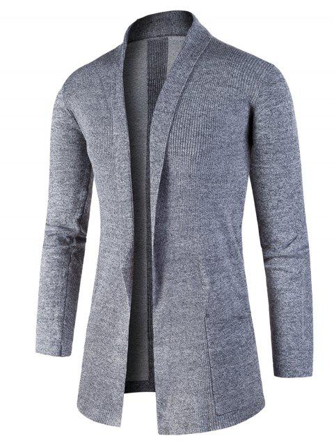 Knitted Jacquard Open Front Cardigan - GRAY XL