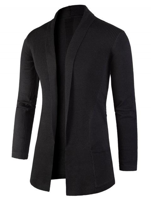 Knitted Jacquard Open Front Cardigan - BLACK XL