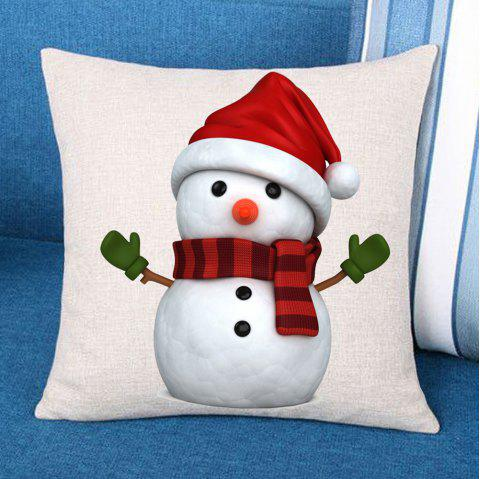 Christmas Snowman Patterned Decorative Pillow Case - RED/WHITE W18 INCH * L18 INCH