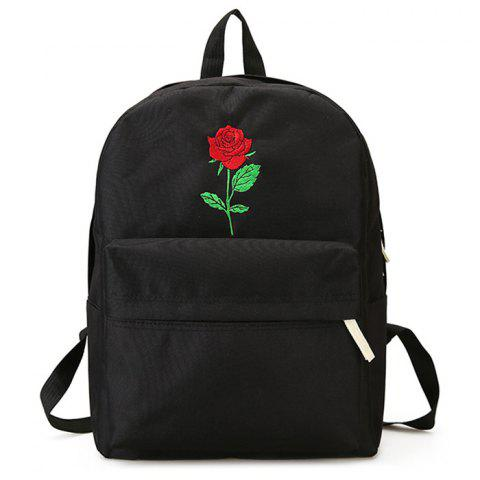 Flower Embroidery Heart Backpack - BLACK
