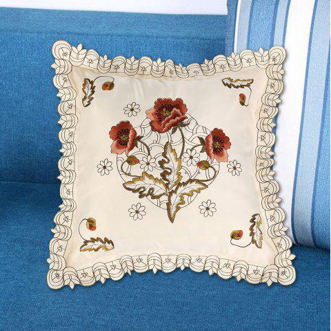 Polyester Embroidered Decorative Floral Pillow Case - OFF WHITE W18 INCH * L18 INCH