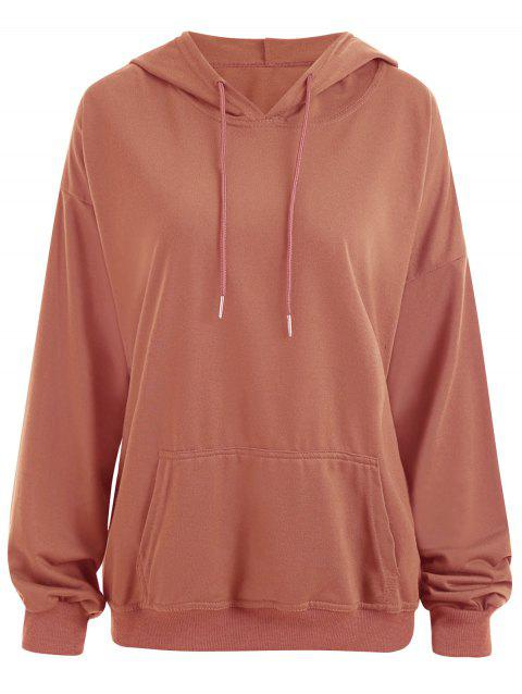 Plus Size  Plain Drop Shoulder Hoodie with Pocket - ORANGE YELLOW XL