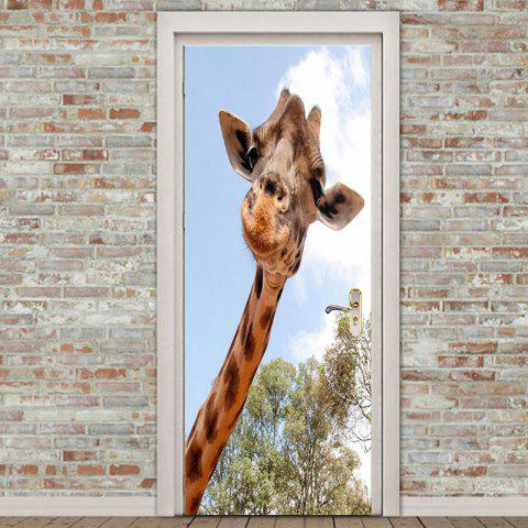Decorative Giraffe Pattern Removable Door Stickers - COLORMIX 38.5*200CM*2PCS