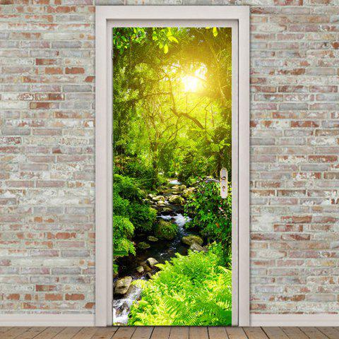 Forest Stream Pattern Environmental Removable Door Stickers - GREEN 38.5*200CM*2PCS