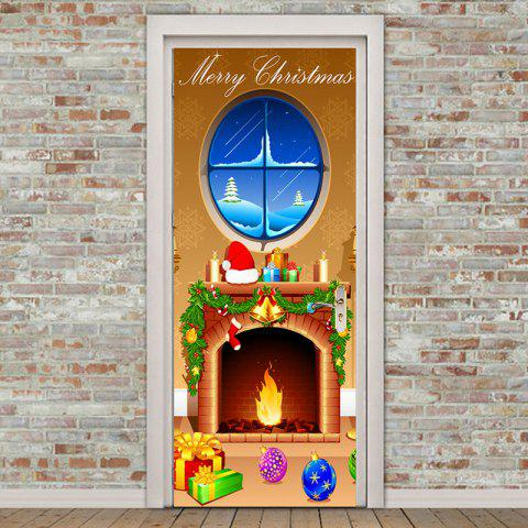 Merry Christmas Andiron Pattern Door Cover Stickers - COLORFUL 38.5*200CM*2PCS