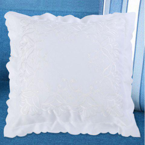Polyester Embroidered Throw Pillow Case - WHITE W18 INCH * L18 INCH