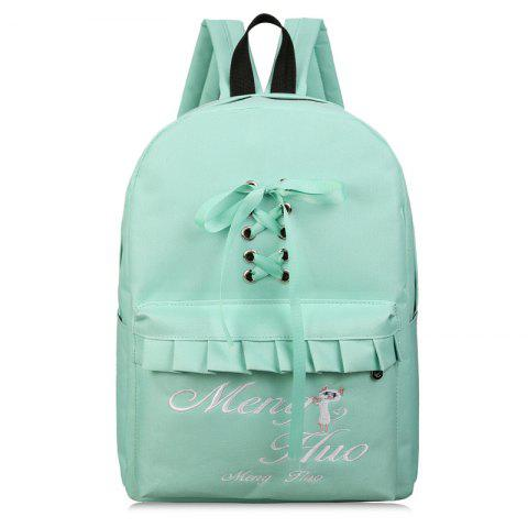 Ribbon Criss Cross Letter Backpack - GREEN