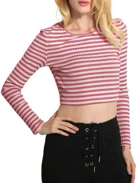 Cropped Stripe Sweater - PINK M